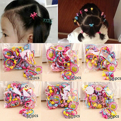 50pcs Rubber Band Elastic Hair Bands Kids Cartoon Girls Hair Bobbles Accessories