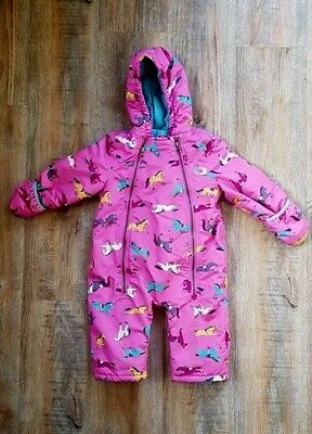 4d6f90122 JOULES BABY GIRL Fleece Lined Snowsuit 9-12 Months Pink Horse Print ...