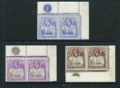St Helena KGV 1922-37 mounted mint plate pairs SG 101, 105, 106 cat £27.50