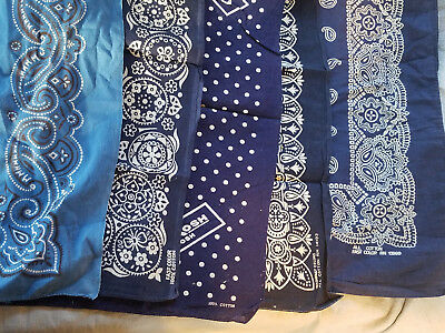 five vintage blue bandanas fast color elephant