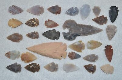 "30 PC Flint Arrowhead Ohio Collection Points 2-3"" Spear Bow Stone Hunting Blade"