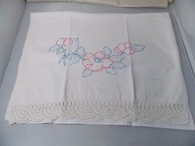 Vintage Single White Cotton Pillow Case Embroidered with Crocheted Lace