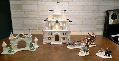 Department 56 Snow Village Snow  Ice Palace Plus 3 Accessorie#54850 Retired 1995