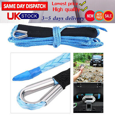 50FT 6.5MM Nylon Synthetic Winch Rope 6600 LBS Self Recovery For SUV ATV Truck