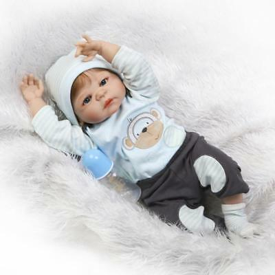 "22"" Full Body Silicone Vinyl Reborn Doll Lifelike Anatomically Correct Boy Doll"