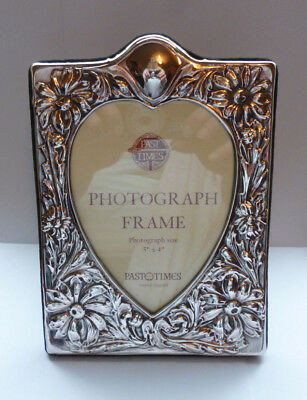 """Beautiful PAST TIMES Sterling Silver Flowers & Hearts Photo Frame  7.75"""" x 5.5"""""""