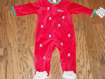 cbedf21a4 Little Me My First Christmas Velour Sleeper Footed Teddy Bear Baby 9 Months  $34