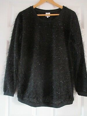 NEXT MATERNITY Stunning Sparkly Black Fluffy Eyelash Knit Long Sleeve Jumper 14