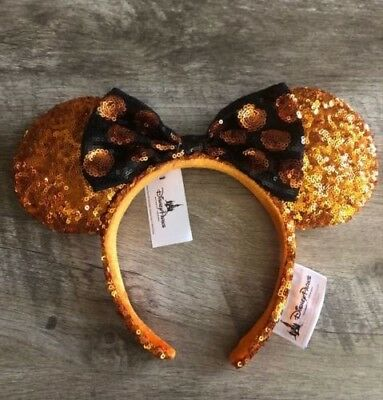 Authentic Disney Halloween Ears Minnie Mouse Sequined Headband