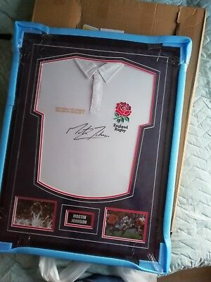 Martin Johnson Signed England 2003 Rugby World Cup Shirt in frame with photos