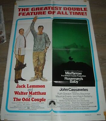 1969 ODD COUPLE & ROSEMARY's BABY DOUBLE FEATURE 1 SHEET MOVIE POSTER NICE ART