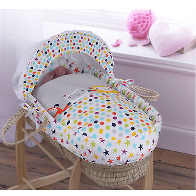 New Clair De Lune Grey / Brights Palm Baby Moses Basket & Mattress