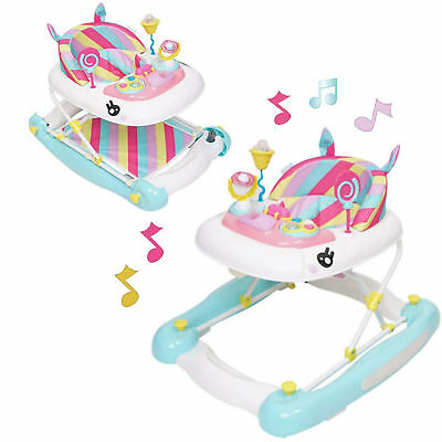 New My Child Unicorn Rainbow Musical Height Adjustable Baby Walker Rocker