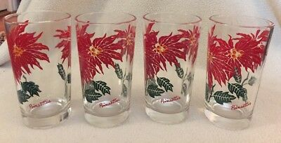 Vintage Lot of 4 Boscul Christmas POINSETTIA Red Flower Peanut Butter Glasses