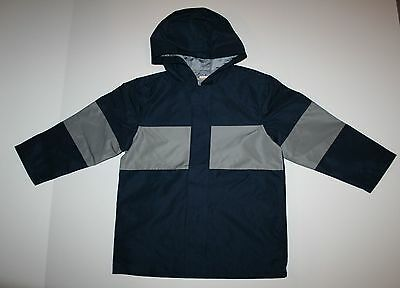 New Gymboree Boys Hooded Raincoat Jacket Navy Blue Gray Size 4 Year NWT