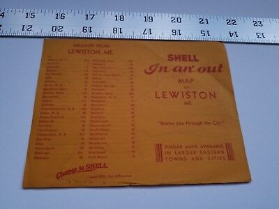 Home Treasure Lewiston Maine Map Change To Shell Advertising Paper Ad Mileage #2