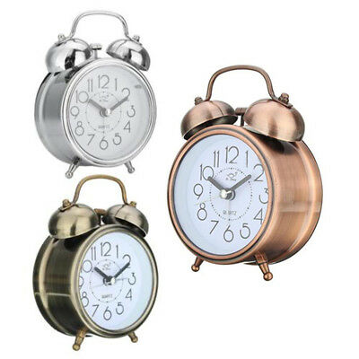 Vintage Silent Double Bell Quartz Alarm Clock Bedside Clock Loud Night Light