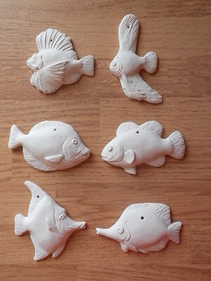 C-0140 lot of (6) Christmas Flat Fish Ornaments Ceramic Bisque Ready to Paint