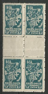 Poland,Underground Post,Block of 4 with a empty fields in the middle,MNH