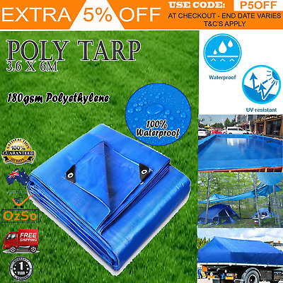 Mulit-Size 180gsm Heavy Duty Poly Tarps PE Tarpaulin Camping Cover UV Proof Blue