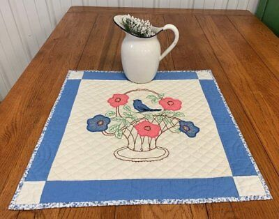 Cottage c 1930s BLUE Bird Basket VINTAGE   Table Doll QUILT 21 x 21