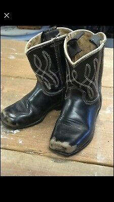 Vintage Kid's ACME Cowboy Leather Boots Leather black