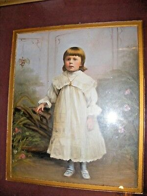 Antique Oil Painting Portrait Of A Little Girl By D J Ryan Victorian Edwardian