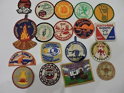 Lot of 18 patch Scouts, camporee, BSA, prairie council 1951 to 1965