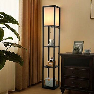 LED SHELF FLOOR Lamp Modern Standing Lamps for Living Room Bedrooms Asian  Wooden