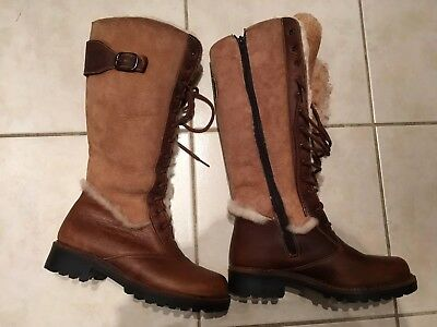 8fc6fb27bd04 Maxine of Canada women s Brown Leather suede boots size 7 real fur lined.
