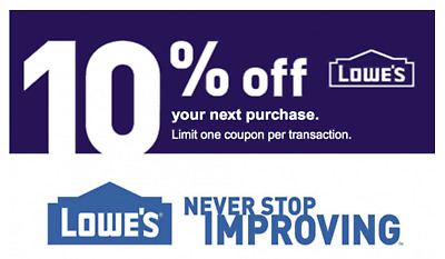 Two (2X) 10% OFF LOWES and Two (2X) $20 off $100 LOWES - 4COUPONS INSTORE/ONLINE