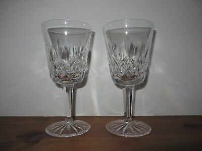 """2 Waterford Crystal Lismore 6 7/8"""" Water Goblets glasses Stems 8 oz"""
