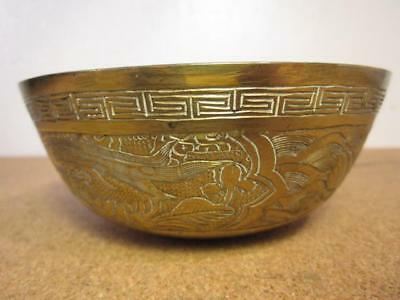 Antique Chinese Brass Engraved Bowl with A Dragon and A Phoenix
