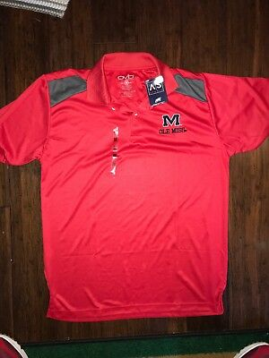 74b8fd3ed New Ole Miss Rebels Mississippi Polo Golf Shirt Size M Red Collared Dri-fit