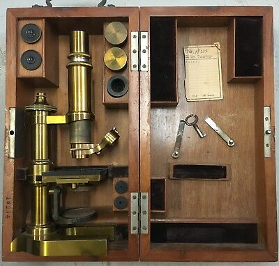 Antique Brass Ernst Leitz Wetzlar Microscope 1890 Model #18234