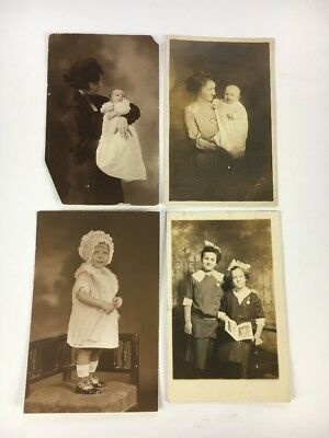 RPPC Lot Of Four Antique Vintage Post Cards Mother Baby Children