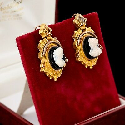 Antique Vintage Nouveau 18k Rose & Yellow Gold Etruscan Jet Shell Cameo Earrings
