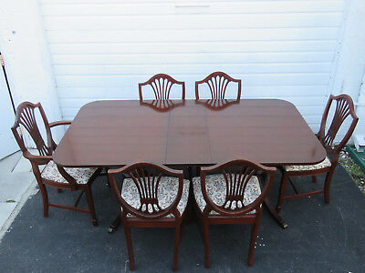 Mahogany Dining Set of Table With One Leaf and Six Shield Back Chairs 9374
