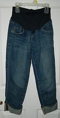 OLD NAVY MATERNITY Blue Denim CUFFED CAPRIS SMOOTH PANEL Pants Jeans* 2