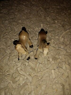 Lot of Two Beautiful Vintage Japan Miniature Horses Gray Light Brown