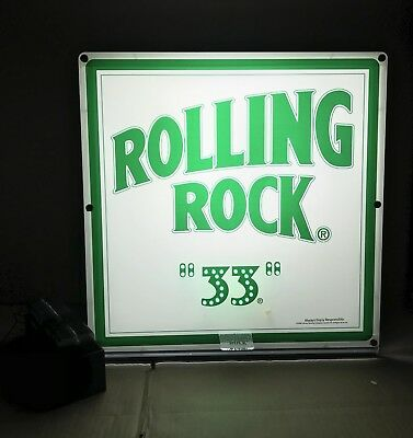 "Rolling Rock ""33"" Extra Pale Ale Lottery Game LED Beer Sign 18"" Square New RARE!"