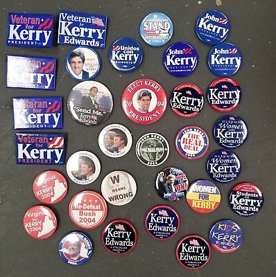 Lot of 33 John Kerry and John Edwards 2004 Presidential Election Campaign Button