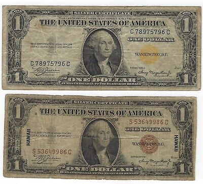 1935A $1, $2 Hawaii Silver Certificate Fine Notes