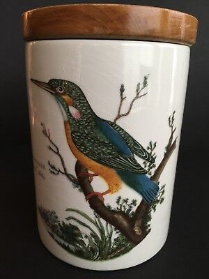 "5 5/16""Portmeirion Kingfisher Birds of Britain Storage Canister Wood Lid Pot Jar"