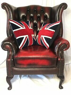 Chairs Reproduction Chairs The Best Luxury Comfort Handmade Chesterfield Style Leather Wingback Armchair Oxblood Red