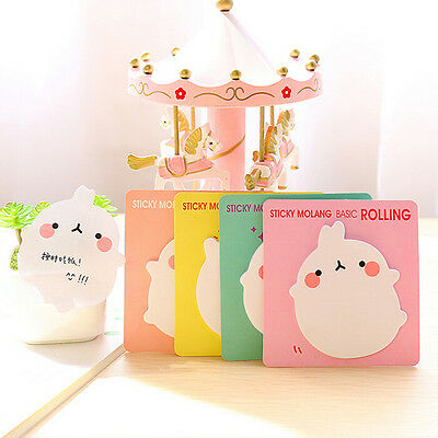 2X Cute Rabbit Sticky Notes Sticker Bookmarker Memo Pad Home Office Cl Kj