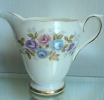 SUTHERLAND SUT58 China Jug 4 inch high pink, blue, purple roses / flowers detail