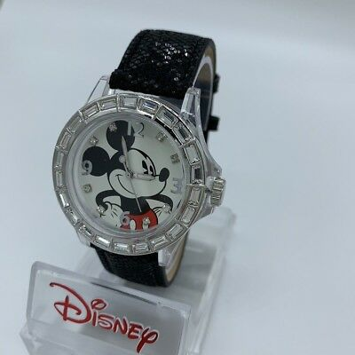 Disney Mickey Mouse Men's Rare Watch, Beautiful Black Leather Strap & Large Dial