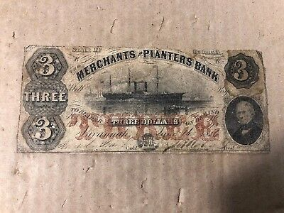 1856 $3 Dollars Merchants And Planters Bank (Savannah Georgia)