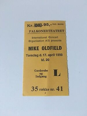 Mike Oldfield Rare Denmark Concert Ticket